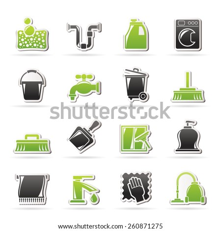 Cleaning and hygiene icons - vector icon set, Created For Print, Mobile and Web  Applications - stock vector