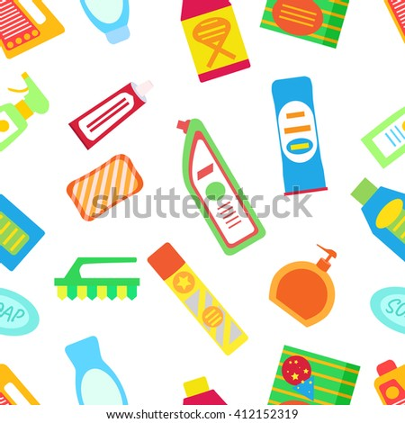 Cleaning assortment seamless pattern. Cleaning chemistry products. Washing icons. Cleaning set with bottles, sponge and canister of chemistry. - stock vector