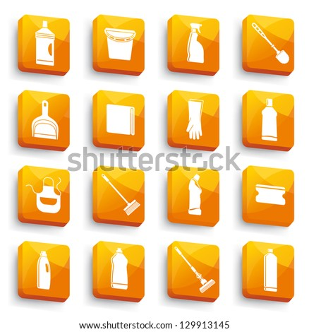 Cleaning buttons - stock vector