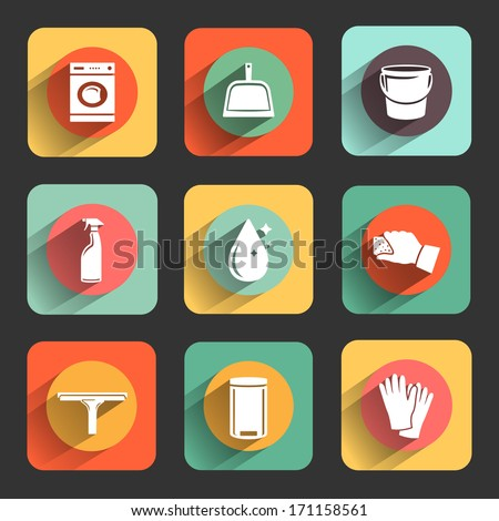 cleaning colorful flat design icon set. template elements for web and mobile applications - stock vector