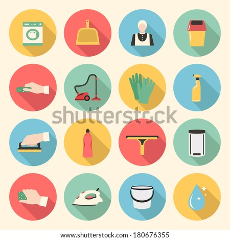 cleaning colorful flat style icons set. template elements for web and mobile applications - stock vector