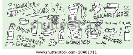 Cleaning doodles.  Visit my portfolio for a huge collection of hand-drawn doodles. - stock vector