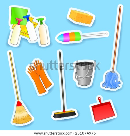 Cleaning equipment, set of vector icons.  - stock vector