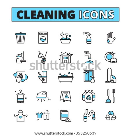 Cleaning hand drawn icon set of household appliances cleaners and detergents isolated vector illustration - stock vector