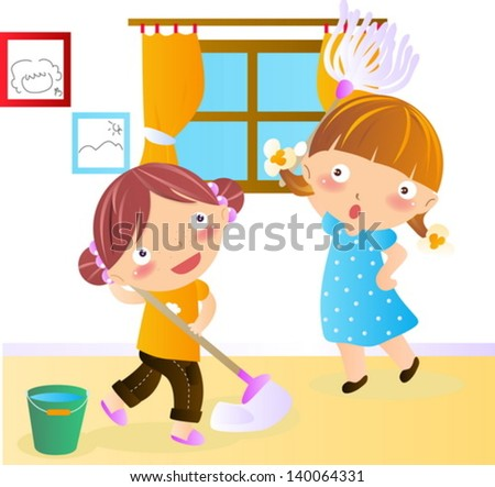 Cleaning house - stock vector