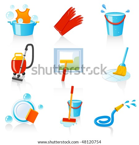 cleaning icons - stock vector