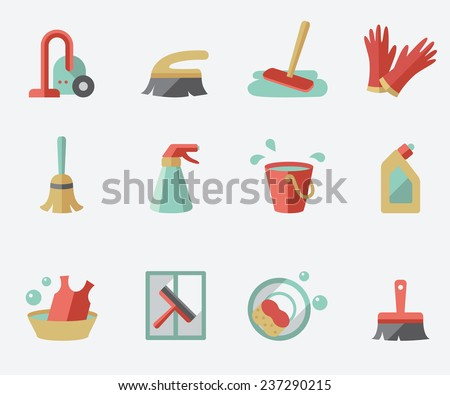Cleaning icons, flat design - stock vector
