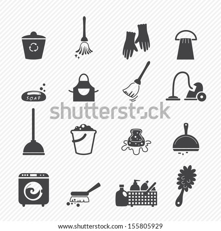 Cleaning icons isolated on white background  - stock vector