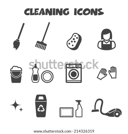 cleaning icons, mono vector symbols - stock vector