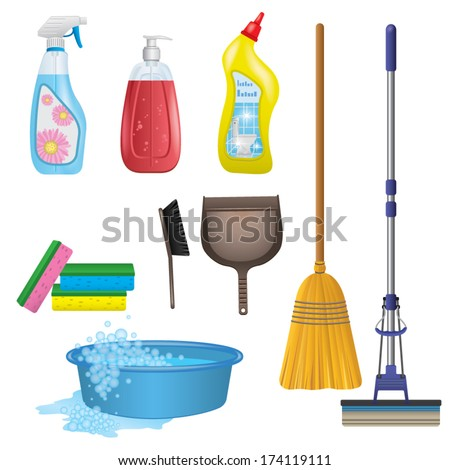 Cleaning Icons Set - stock vector