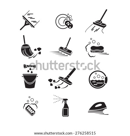 Cleaning icons set.  - stock vector