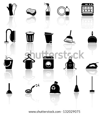 Cleaning icons set - black series - stock vector