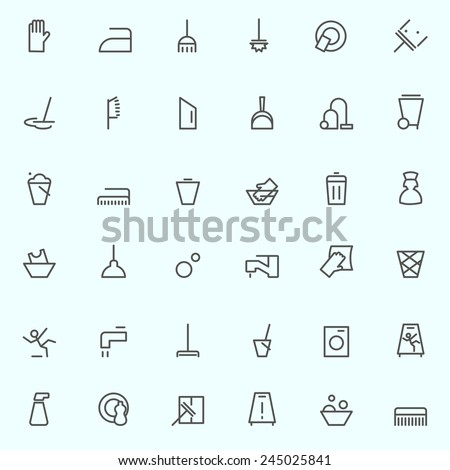 Cleaning icons, simple and thin line design - stock vector