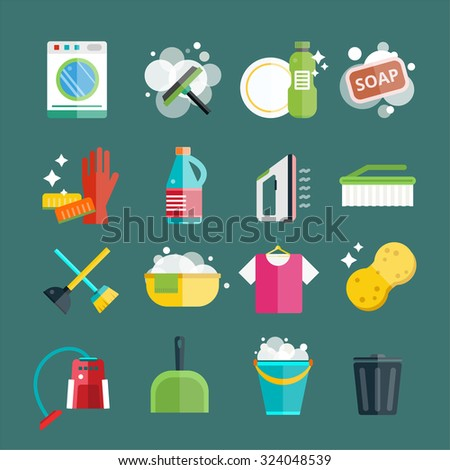 Cleaning icons vector set. Icons of clean service and cleaning tools. Housework cleaning icons vector set. Home clean, sponge icon, broom icon, bucket icon, mop icon, cleaning brush vector icon - stock vector