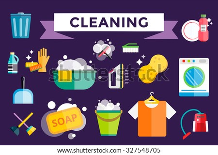 Cleaning icons vector set. Icons of clean service and cleaning tools. Housework cleaning icons vector set. Home clean, sponge icon, broom icon, bucket icon, mop icon, cleaning brush vector icons logo - stock vector