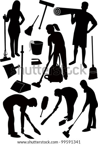 Cleaning in house  man  woman