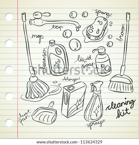 cleaning kit in doodle style - stock vector