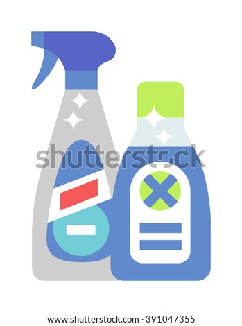 Cleaning product detergent plastic bottle and spray bottle isolated cartoon flat vector on white background. Household chemicals bottle and chemical liquid spray. - stock vector