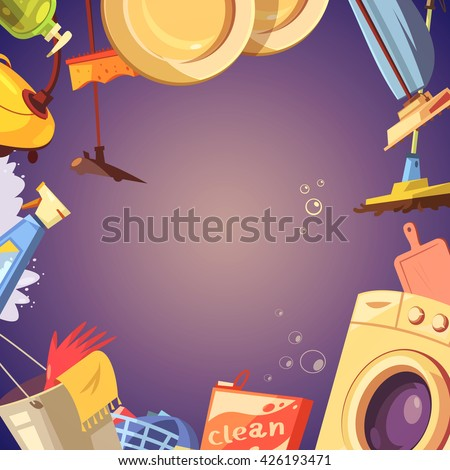 Cleaning service cartoon background with gloves soap and sponge vector illustration
