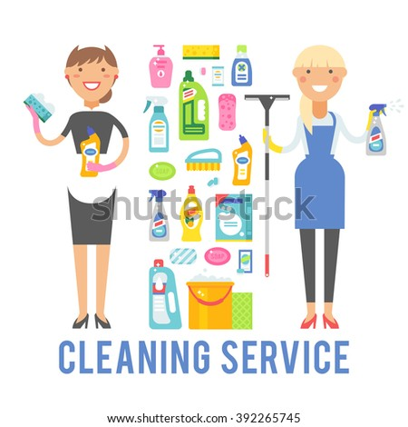 Cleaning service icons and two women cleaning service worker holding equipment. Young smiling cleaner woman service vector isolated over white background.  - stock vector