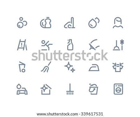 Cleaning service icons. Line series - stock vector