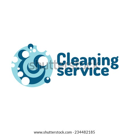 Cleaning service logo. Soap foam bubbles. - stock vector