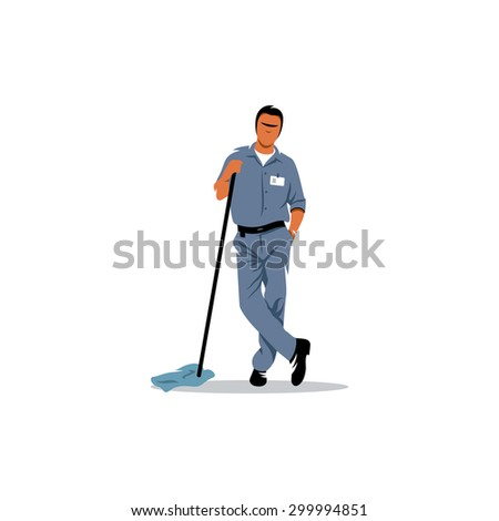Cleaning service sign. Mature man with a mop to clean the floor. Vector Illustration. Branding Identity Corporate logo design template Isolated on a white background - stock vector