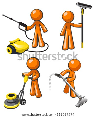 cleaning services set illustrations janitorial professionals stock vector 119097274 shutterstock. Black Bedroom Furniture Sets. Home Design Ideas