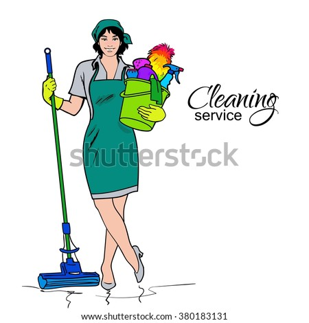 Cleaning services. The cleaner with a mop. Cleaning homes and offices. Cheerful girl with a bucket. She will purify all. Woman in uniform. Easy cleaning. Vector illustration - stock vector