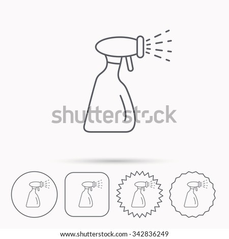 Cleaning spray bottle icon. Washing tool sign. Linear circle, square and star buttons with icons. - stock vector
