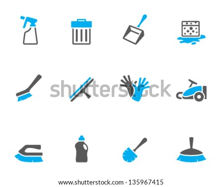 Cleaning tool icon series  in duo tone colors - stock vector