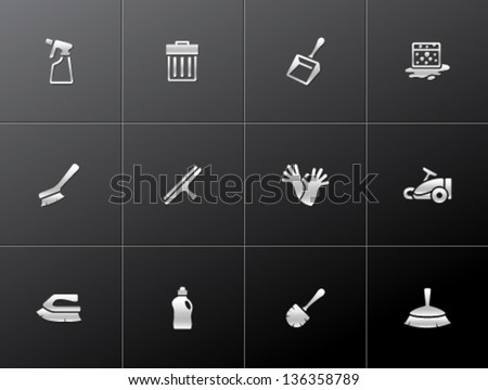 Cleaning tool icon series  in metallic style - stock vector