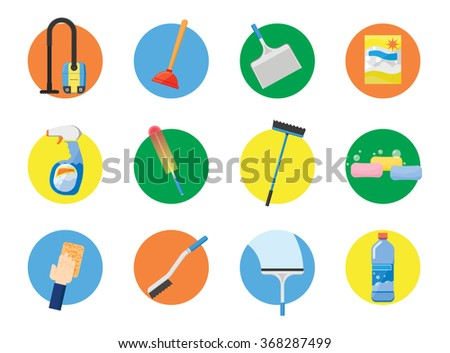 Cleaning tools. Cleaning icon. Broom icon. Housework icon set. Vacuum cleaner icon. Mop icon. Rag icon. Vector cleaner icon. Sanitation symbol. Cleaning symbol. Broom sign. Cleaning service icon set. - stock vector