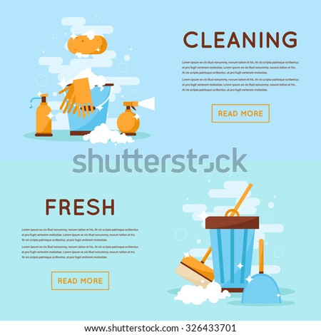 Cleaning tools, cleaning, order, freshness, purity, health. Flat design isolated vector illustration. - stock vector