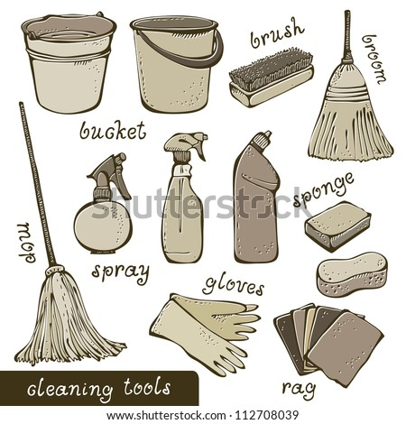 Cleaning tools collection - stock vector