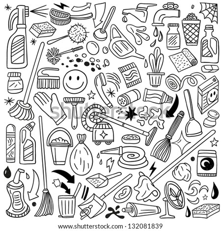 cleaning tools - doodles set - stock vector