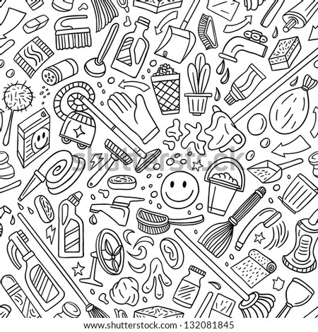 cleaning tools - seamless vector background - stock vector