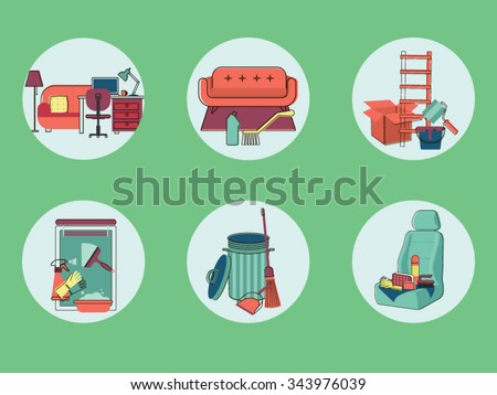 Cleaning tools.  Vector graphics - stock vector