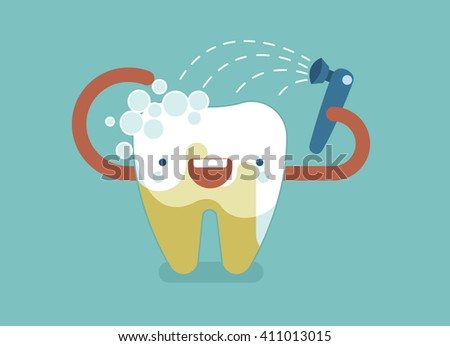 Cleaning tooth ,dental concept - stock vector