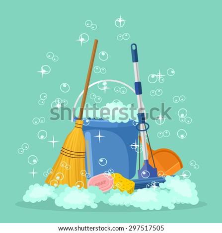 Cleaning vector flat cartoon illustration - stock vector