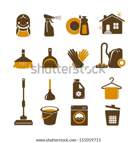Cleaning vector icons - stock vector