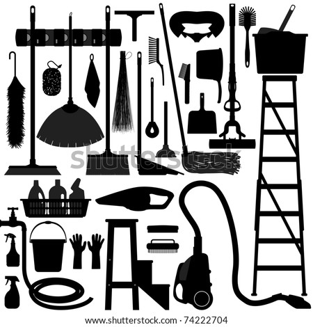 Cleaning Washing Domestic Household Housework Work Tool Equipment - stock vector