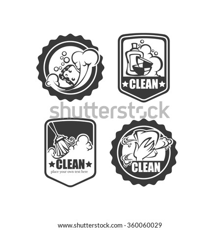 cleaning, washing, sweeping and chamberwork, vector emblem, logo and symbols collection - stock vector