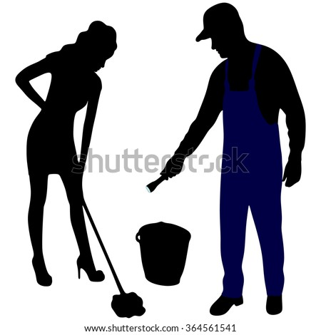 Cleaning Woman with Mop and Bucket and handyman