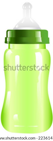 clear green baby bottle - stock vector