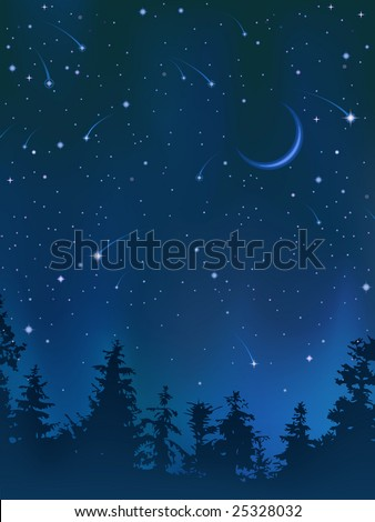 Clear night sky over the forest (other landscapes are in my gallery) - stock vector