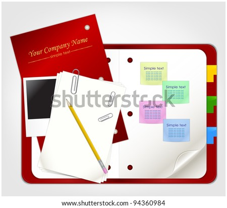 Clear organizer with photo frame, sheets of paper, pencil and clips - stock vector