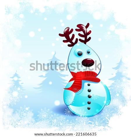 Clear snowy reindeer christmas background  - stock vector
