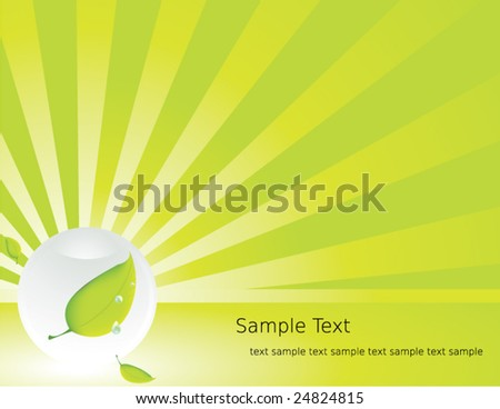 Clear sphere ray leaf background - vector