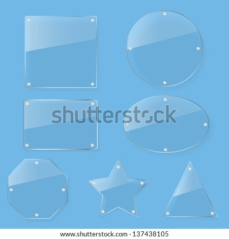 clear tint glass plate set - stock vector